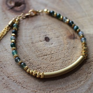 Muse natural wind series NO.89 green plants green chalcedony bracelet brass elbow