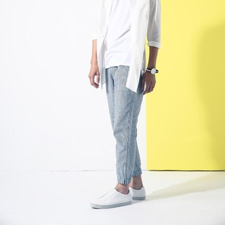 Stripe zipper neckband pants