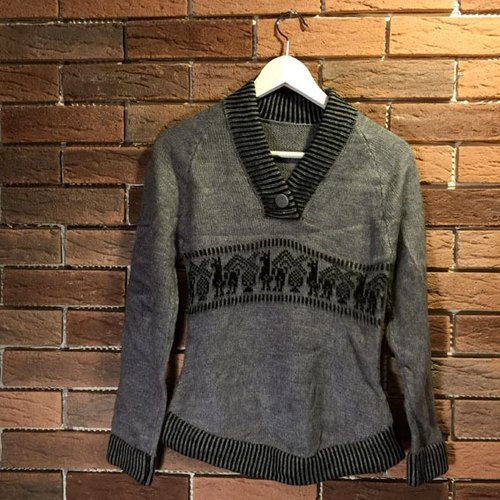 Hand-woven alpaca wool sweater feel - Alpaca Walking - Women M