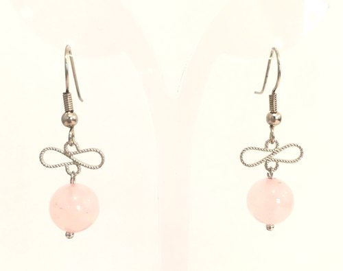 * Fashion generous gift of choice * E0315 - Original / home-made / natural stones Rose Quartz Earrings