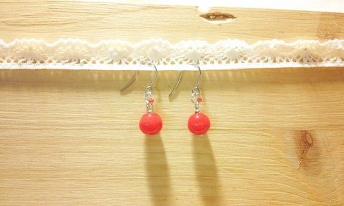 Grapefruit Wooden Handmade Glass - Wild Glass Earrings Series - Cherry Red (free of charge)