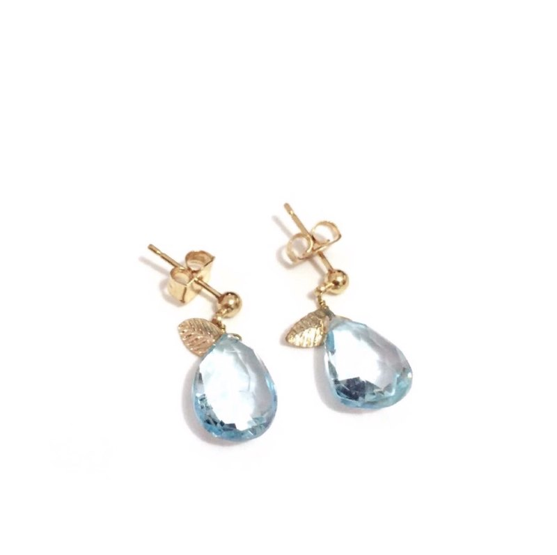 Simple Blue Topaz Earrings