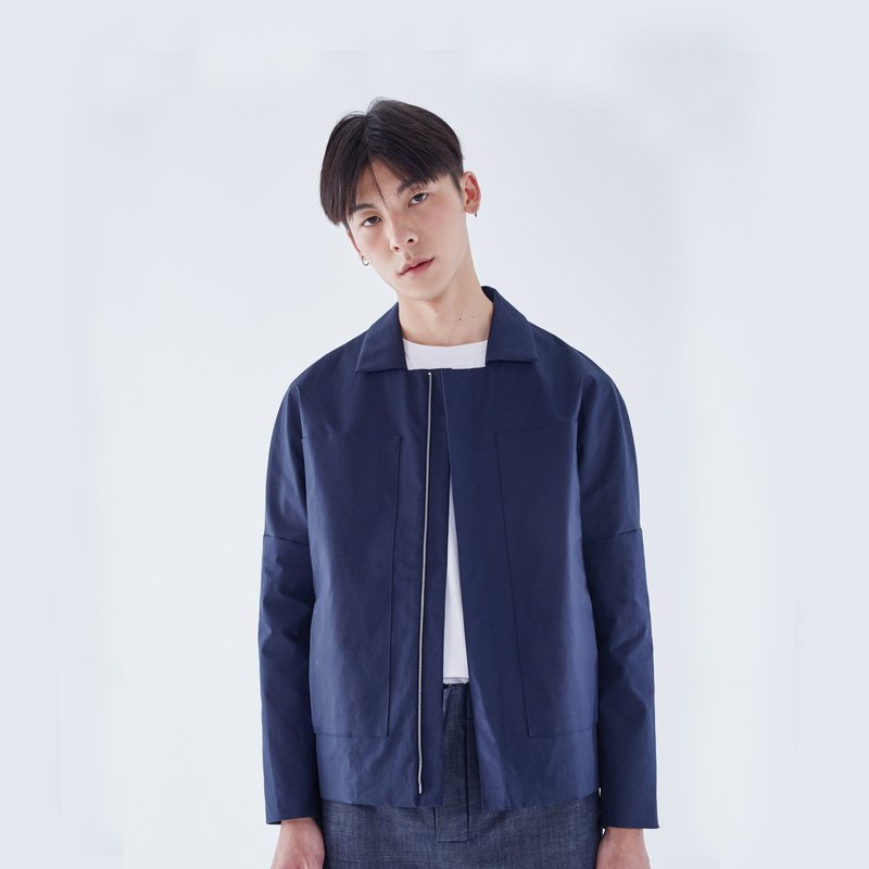 TRAN - Large pocket flat collar jacket