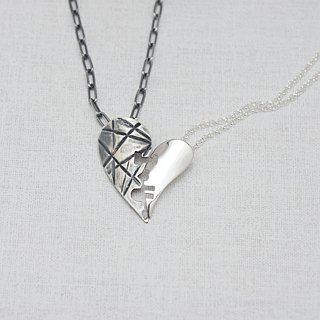 I love U  (925 sterling silver lovers necklace) - C percent handmade jewelry