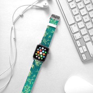 Apple Watch Series 1 , Series 2, Series 3 - Aqua Floral pattern Watch Strap Band for Apple Watch / Apple Watch Sport - 38 mm / 42 mm avilable