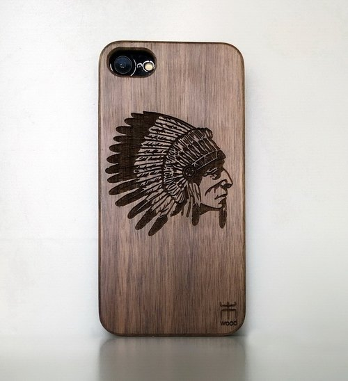 Customize wooden iPhone and Samsung case, personalized gift, American Indian