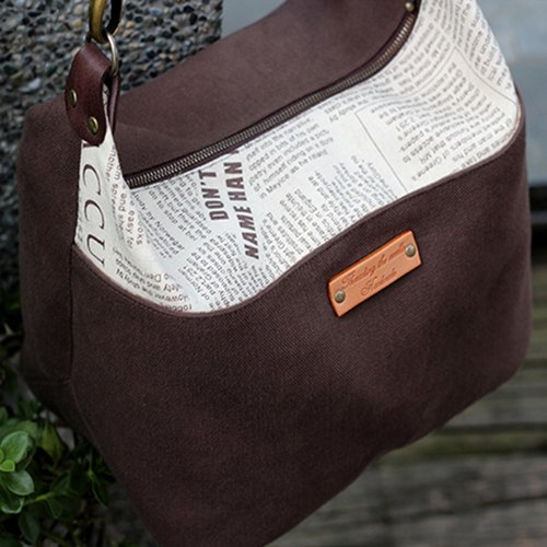 Brown elegant fashion bag - hand-made material package
