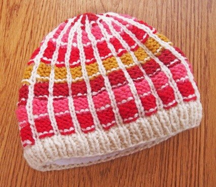 【Grooving the beats】Handmade Hand Knit Wool Beanie Hat for Kids(Plaid_Red)