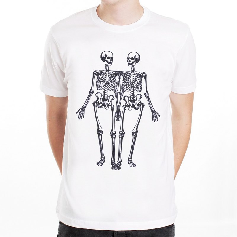 Skeleton T-shirt - White skeleton bone skull art design funky green paper text fashion