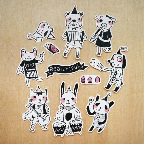 The Animal Band Sticker Set - Set of 11