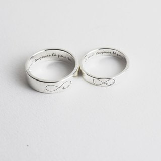 【Customize】Square engravable couple rings (custom-made couple rings, silver)-C
