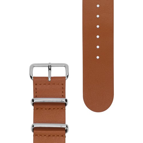 Military Leather Strap - 22mm - HONEY BROWN Honey Brown Leather (Silver Buckle)