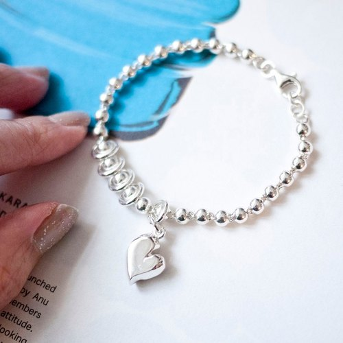 MUFFëL 925 Silver Silver Series - Circle Love 4mm heart-shaped wave hand and chain
