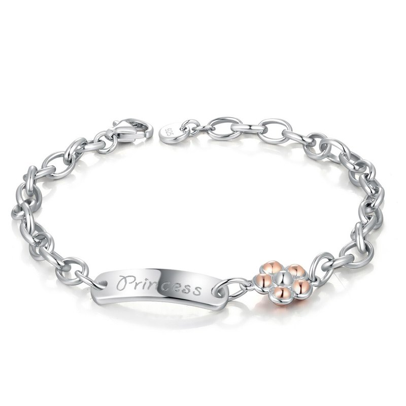 "Hong Kong Design ""pet"" Bling Bling 925 Silver Platinum Plated baby hand / anklet little princess flowers"