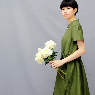 Green Linen dress/Drawstring dress/Army Green Women's Sundress Loose Linen Dress   2Colors
