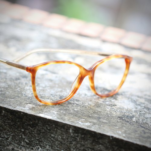 [Myth] sheet hand-made gold tortoiseshell glasses child frame translucent yellowish temples Asian big frame optical frames nose pad