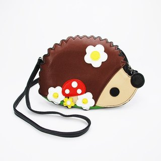 Sleepyville Critters hedgehog with Flowers Shoulder Crossbody Bag