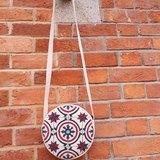 『壹豆號』 特別花紋的舊地磚圓袋,圓袋,圓包包,復古袋,帆布圓袋