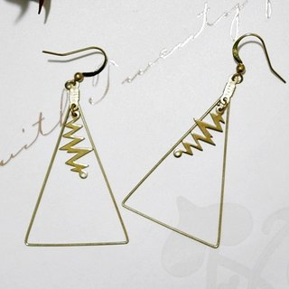 Pure brass <Lightning Triangle> - Hook earrings << European and American style>>