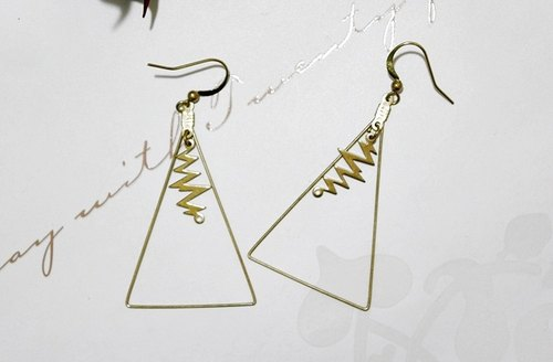 Pure brass <Lightning Triangle> - Hook earrings / / European and American style / /