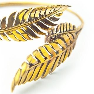 Fern leaf bangle in brass ,Rocker jewelry ,Skull jewelry,Biker jewelry