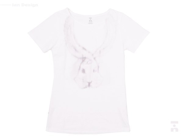 I . A . N Design Rabbit. Landing. Rabbit. Landing short-sleeved T-natural 100% organic cotton Organic Cotton