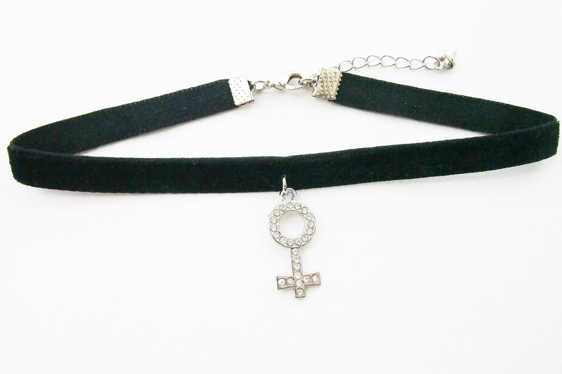 Black velvet choker / necklace with female symbol charm.