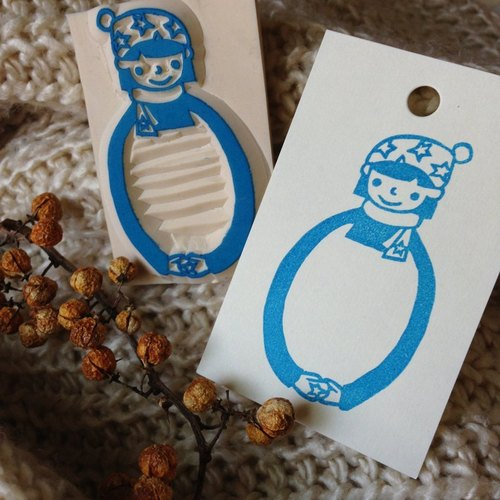 Hand-made rubber stamp - give you a hug Winter Limited Edition (Star Girl)