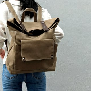 Leather Backpack / School Laptop Satchel backpack - no.105 ALLISON in Cappuccino