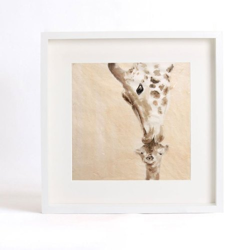 "Original ink painting ""warm family"" series - kiss my baby My dearest baby (Giraffe) - Home decorative painting with frame (Hankuang 35.5cm)"