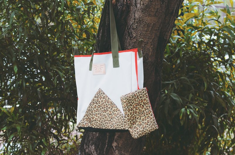 'FLOAT' Beach Tote / Shopper Bag; with detachable pouch, in Cream/Leopard