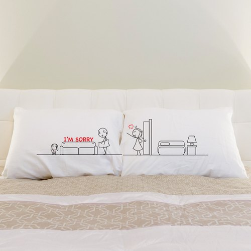 """Sorry (Sofa)' Boy Meets Girl couple pillowcase by Humantouch"