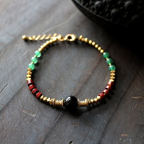 Muse natural wind series NO.181 black agate onyx Dongling jade bracelet brass