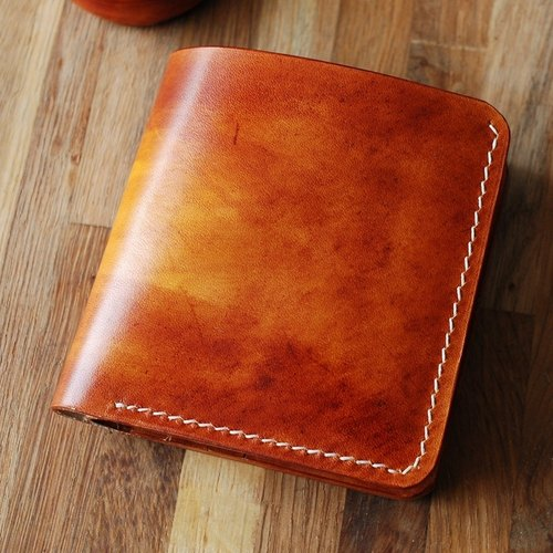Italian handmade custom dyed yellow brown vegetable-tanned leather mirror leather small Japanese-style two-fold wallet wallet fiscal cloth