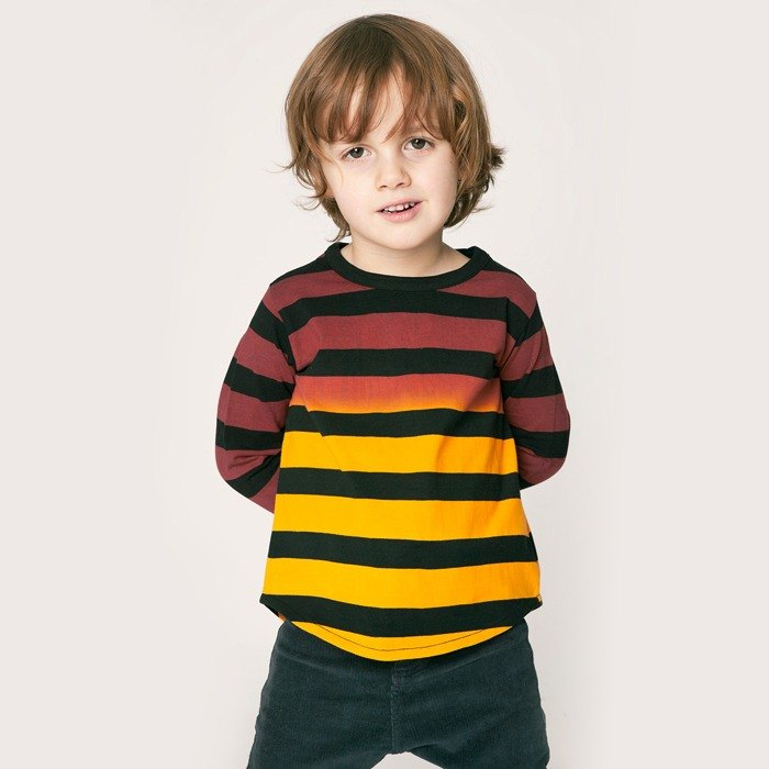 [Nordic children's clothing] organic hand-dyed striped long-sleeved shirt