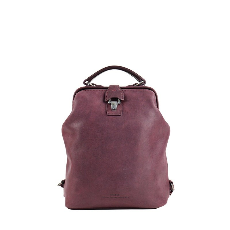 Nurse doctor retro leather backpack - Berry Purple