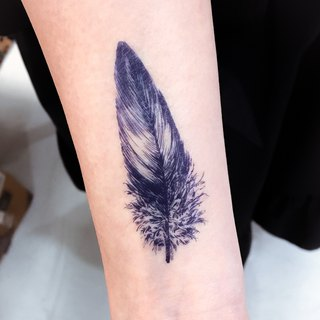 LAZY DUO Feather Boho Soft Wing Blue Black Fake Minimal Temporary Tattoo Sticker