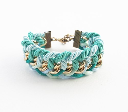 Green mint braided with gold chain bracelet.