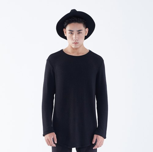 TRAN - coarse knit U-shaped hem T