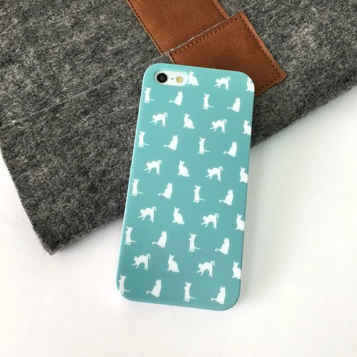 Kitten Cyan Pattern Print Soft / Hard Case for iPhone X,  iPhone 8,  iPhone 8 Plus, iPhone 7 case, iPhone 7 Plus case, iPhone 6/6S, iPhone 6/6S Plus, Samsung Galaxy Note 7 case, Note 5 case, S7 Edge case, S7 case