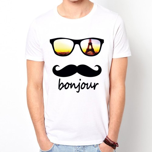 bonjour-Paris short-sleeved T-shirt - white Paris Wen Qing cultural and creative design affordable fashion fashionable homemade round triangle