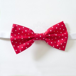 Red Polka Dot fabric bow tie boy can be customized Family fitted []