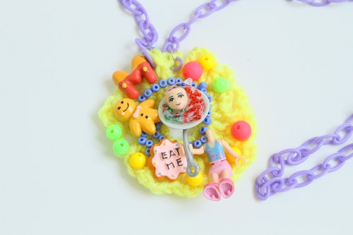EAT me | Exclusive wool Siwan plastic corsage necklace Japanese Harajuku style