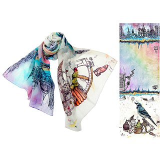 bird dreamer long silk scarf