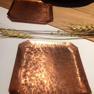 Handmade metalwork rose gold octagonal square coaster