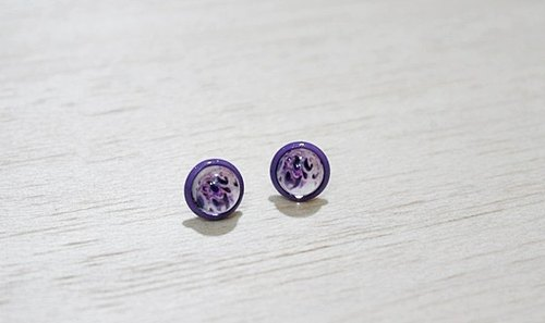 * Purple paint time gem ear pin earrings * _ _ Limited X1