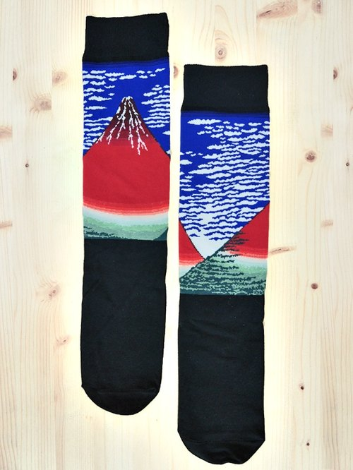 JHJ Design Canadian brand of high saturation knitting socks Ukiyo-e Series - Fuji red socks (knitted socks) Japanese style