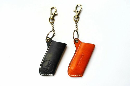 Fiber hand-made hand-stitched leather lighter sets key ring