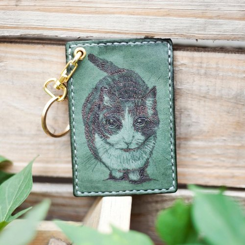 Olive green leather hand-stitched black and white cat key ring card sets
