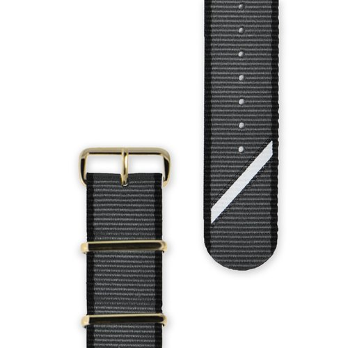 HYPERGRAND military strap - 20mm - gray twill (gold buckle)